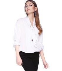 bluzka elegancka z krawatką biała
