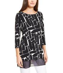 alfani petite printed mesh-trim tunic top, created for macy's