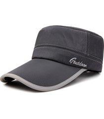 berretto piatto a maglia da uomo primavera asciugatura rapida visiera parasole con visiera lunga e visiera piatta