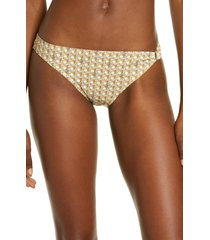 women's tory burch basket weave print ring bikini bottoms, size large - orange