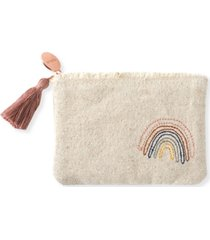 fringe studio stitched rainbow canvas coin pouch