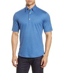 men's eton soft casual line slim fit pique polo shirt, size x-large - blue