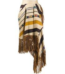 etro striped fringe midi skirt - neutrals