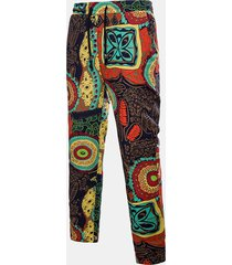 pantaloni da uomo stile cinese con elastico in vita stile elastico stampato pantaloni casual