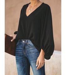 blusa casual de manga larga con cuello en v