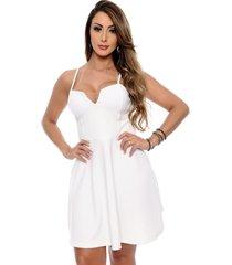 vestido crepe b bonnie evasê sacha off white