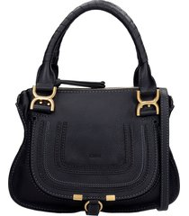 chloé marcie small shoulder bag in black leather