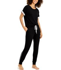alfani ultra-soft contrast trim pajama set, created for macy's