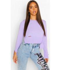fijn gebreide trui met versleten zoom, lilac