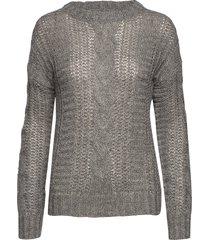 pzcomo l/s pullover stickad tröja grå pulz jeans