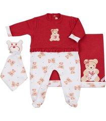 saída maternidade coquelicot 3 peças macacáo babados, manta e naninha  ursinha vermelho - tricae