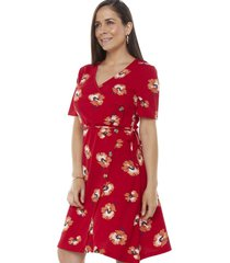 vestido cruzado botones rojo flores mujer corona