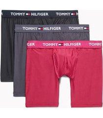 tommy hilfiger men's everyday microfiber boxer brief 3pk black/nine iron/sangria - l