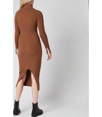 kenzo women's skinny rib long dress - chestnut - l