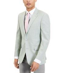 tommy hilfiger men's modern-fit th flex stretch green chambray sport coat