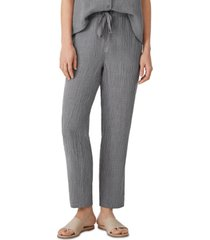 eileen fisher linen checked drawstring ankle pants