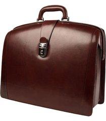 men's bosca triple compartment leather briefcase - brown