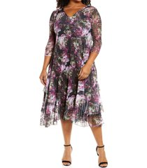 komarov lace sleeve charmeuse midi dress, size 3x in wild clover at nordstrom