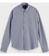 scotch & soda gebreid klassiek overhemd | regular fit