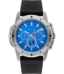 caravelle designed by bulova men's chronograph black silicone strap watch 48mm