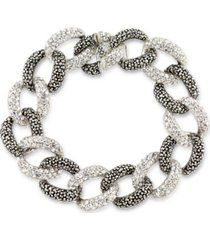 """marcasite and crystal pave oval link 7 1/2"""" bracelet in sterling silver"""