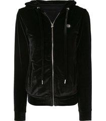 philipp plein textured studded logo hoodie - black