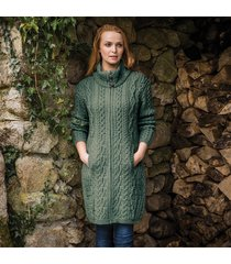 the dunloe aran coat green m