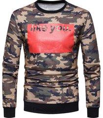 color block letter printed camouflage sweatshirt