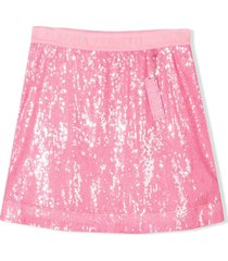 alberta ferretti pink sequin-embellished mini skirt