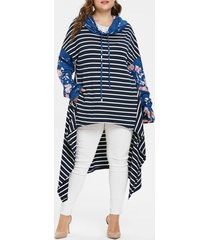 plus size striped high low hoodie