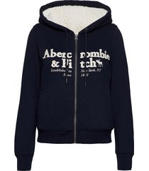 anf womens sweatshirts hoodie blå abercrombie & fitch