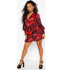 petite floral satin jacquard belted wrap dress, black