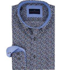 overhemd portofino casual fit blauw motief