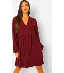 tall rib ruffle collar smock dress, berry