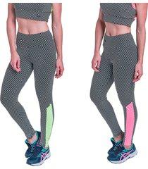 kit 2 leggings carbella mosaico verde neon e pink neon - tricae