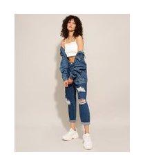 calça baggy jeans destroyed cintura super alta azul escuro