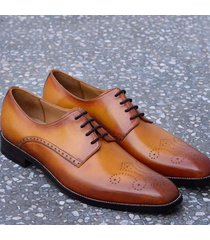 handmade tan oxford leather shoes, brogue dress shoes formal office shoes men's