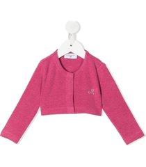 monnalisa crystal embellished logo cardigan - pink