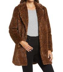women's halogen leopard print faux fur coat, size small - brown