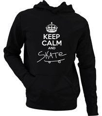 moletom criativa urbana keep calm and skate preto