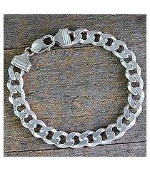 men's sterling silver link bracelet, 'hip hop links' (india)
