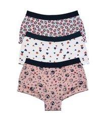 kit 3 calcinhas box feminina cintura alta com elástico - k3-calmf004-m multicolorido
