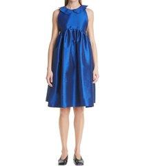 women's kika vargas aida taffeta midi dress, size small - blue