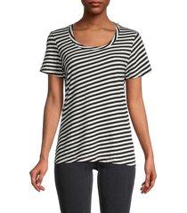 monrow women's striped slim fit t-shirt - black natural - size m