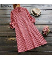 zanzea mujeres plus tamaño de los botones de la túnica de arriba hacia abajo de la blusa a cuadros compruebe camisa de vestir -rojo