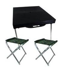 mesa maleta dobrável zaka preta com 2 banquetas alumínio camufladas