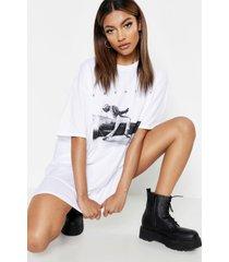 freddie mercury licentie-t-shirt-jurk, wit