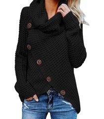 2019 otoño invierno suéter de cuello alto grueso grueso prendas de-negro