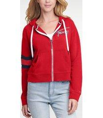 tommy hilfiger women's signature zip hoodie scarlet - xxs