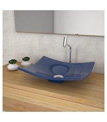 cuba de apoio para banheiro compace folha bari f44w azul escuro
